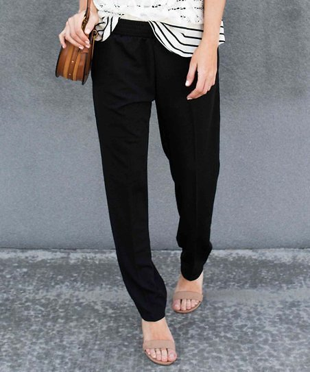Black Elastic-Waist Pants - Women