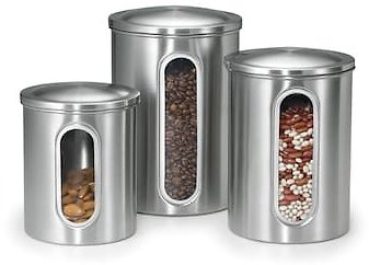 Stainless Steel 3-pc. Window Kitchen Canister Set