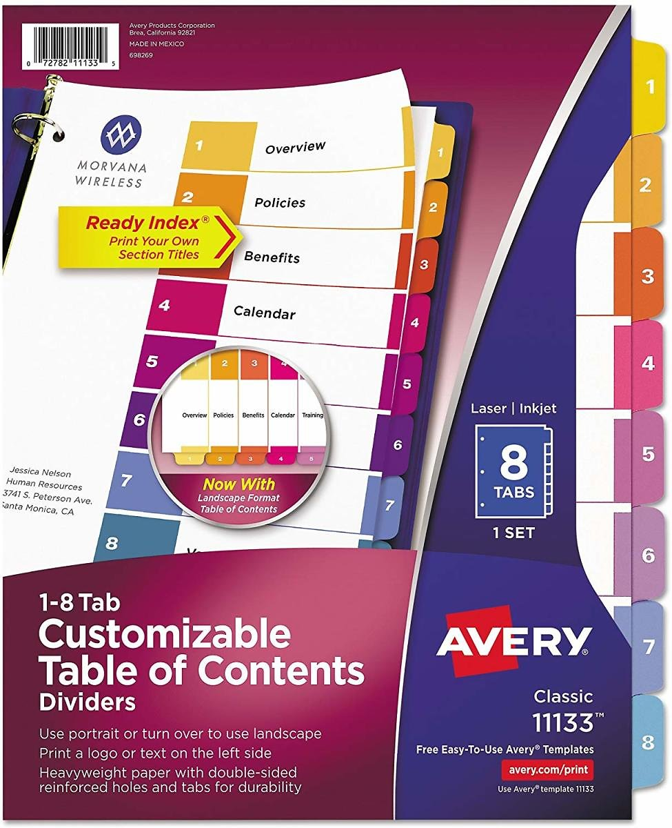 Avery Ready Index Table of Contents Dividers, 8-Tab Set, 1 Set (11133)