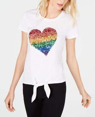 I.N.C. Pride Rainbow Heart Tie-Front T-Shirt, Created for Macy's