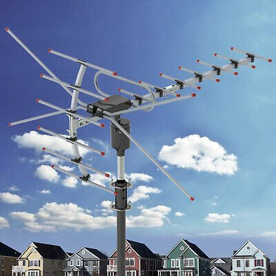 200Miles 1080P Outdoor Amplified HDTV Digital TV Antenna Long Range HD VHF/UHF