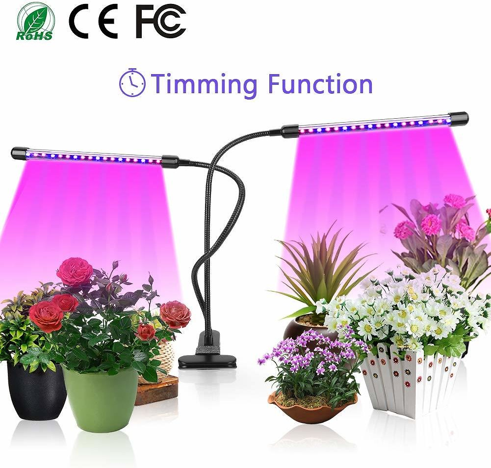 Save 15% On  with HOMEWOOT LED Grow Light 18W Growing Lamp for Indoor Plants Dual Head Timing 36 LED 5 DimmabPromo Code 15V6MSN5