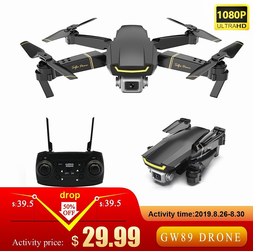 GW89 1080P Camera HD Wifi FPV Gesture Photo Video Altitude Hold Foldable Quadcopter for Beginner - 29.99$