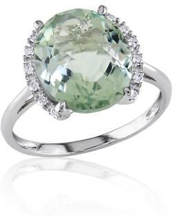 Belk & Co. 10k White Gold Green Amethyst and Diamond Ring