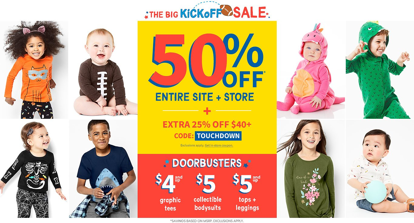 Carter's/ 50% Off Entire Site, Store+ Extra 25% OFF $40.00 with Code:TOUCHDOWN