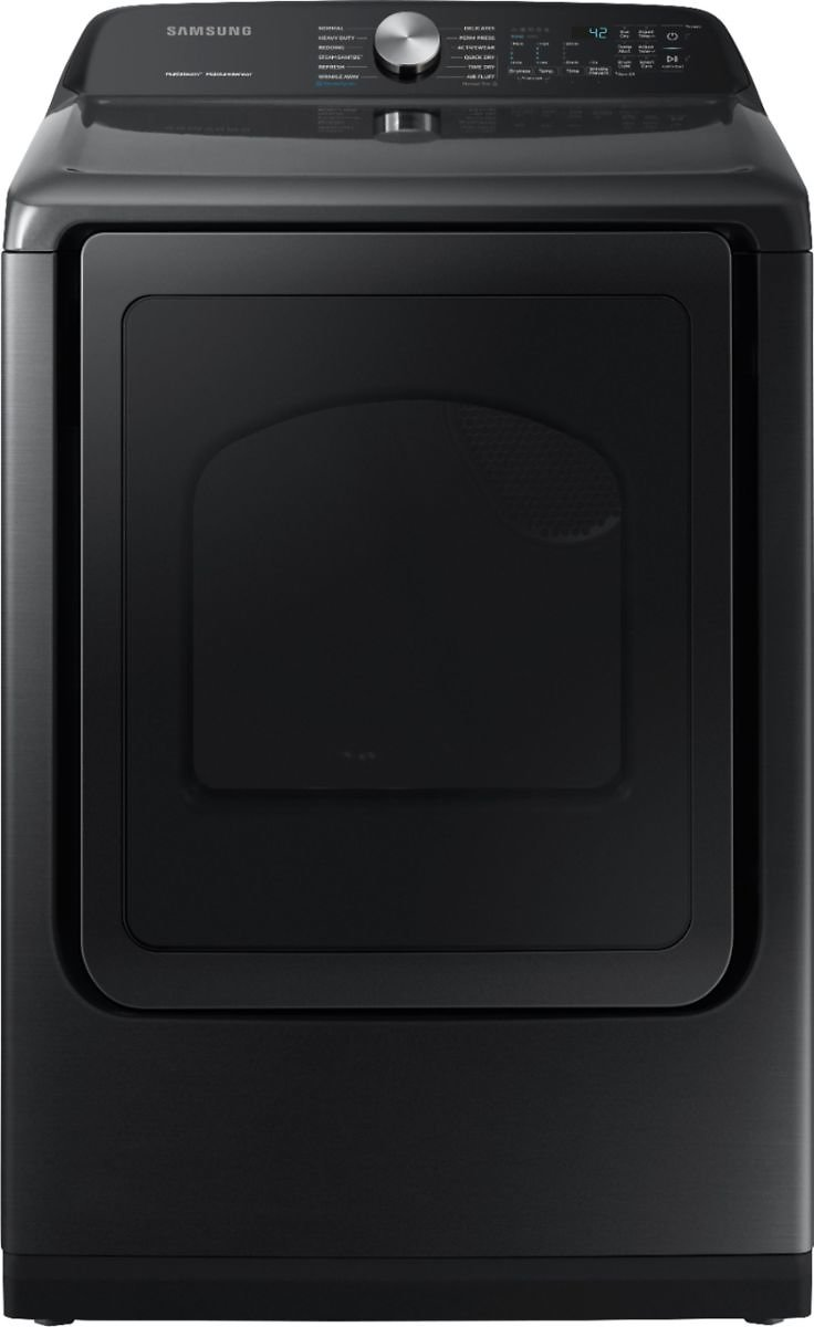 Samsung 7.4 Cu. Ft. 12-Cycle Electric Dryer with Steam Fingerprint Resistant Black Stainless Steel DVE50R5400V/A3
