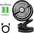 46% Off Battery Operated Clip On Stroller Fan with Rechargeable 4400mAh Battery
