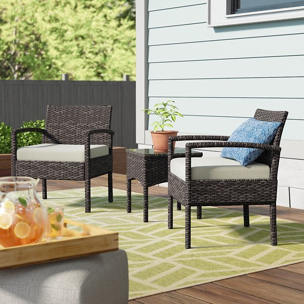 Wrought Studio Blairs 3 Piece Seating Group w/ Cushions