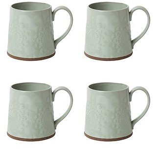 The Grainhouse™ Floral Embossed Mugs, Set of 4 (In Store)