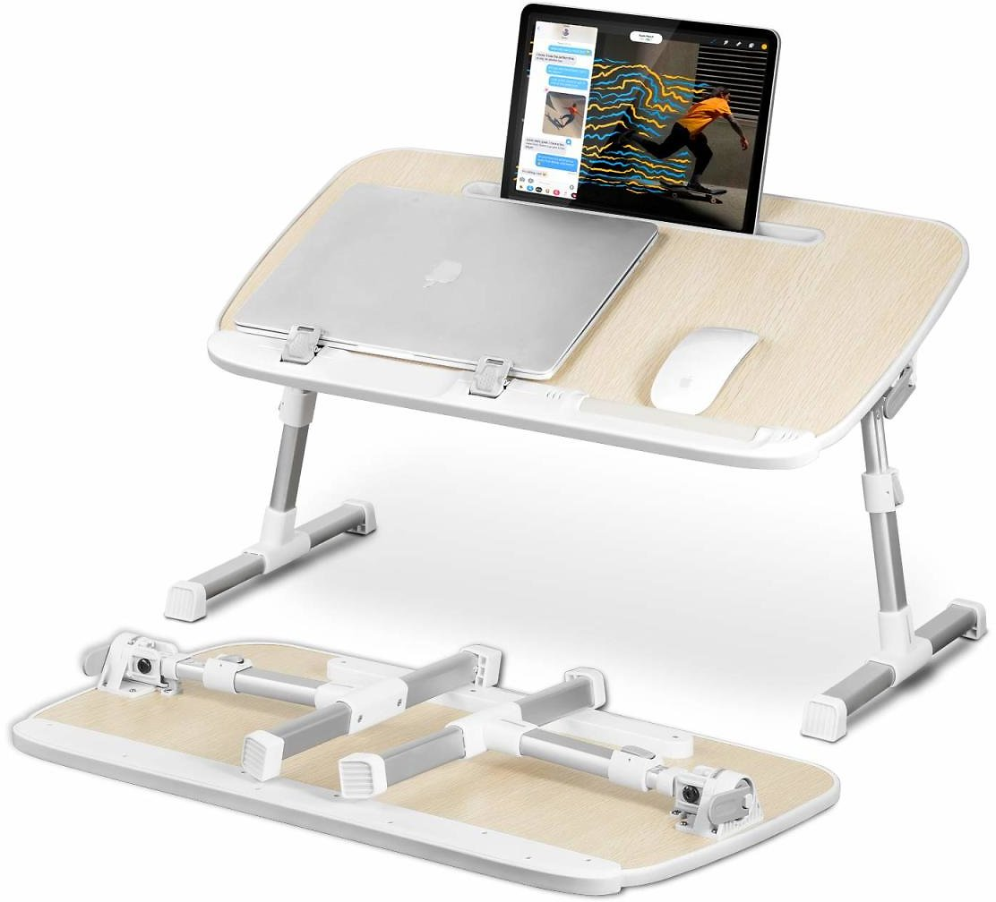 Laptop Stand Desk for Bed with Tablet Stand Slot,YOSHIKO Adjustable Laptop Table Bed Desk,Foldable Standing Desk for Writing in Sofa and Couch Wood, Laptop Desk for Lap, Lap Desk Bed Trays for Eating: Gateway