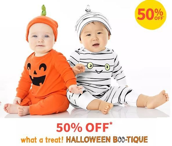 50% Off Carter's Halloween Boo-Tique, Licensed Fan Gear, Jammies, and Shoes for Kids