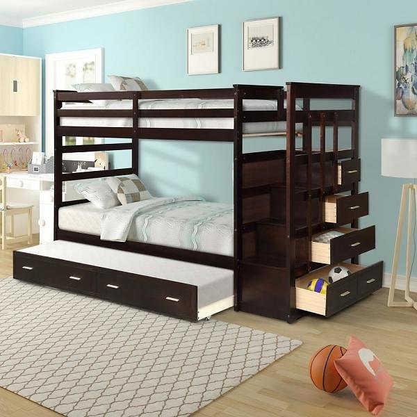 Twin Over Twin Bunk Bed (2 Colors) + Free Shipping