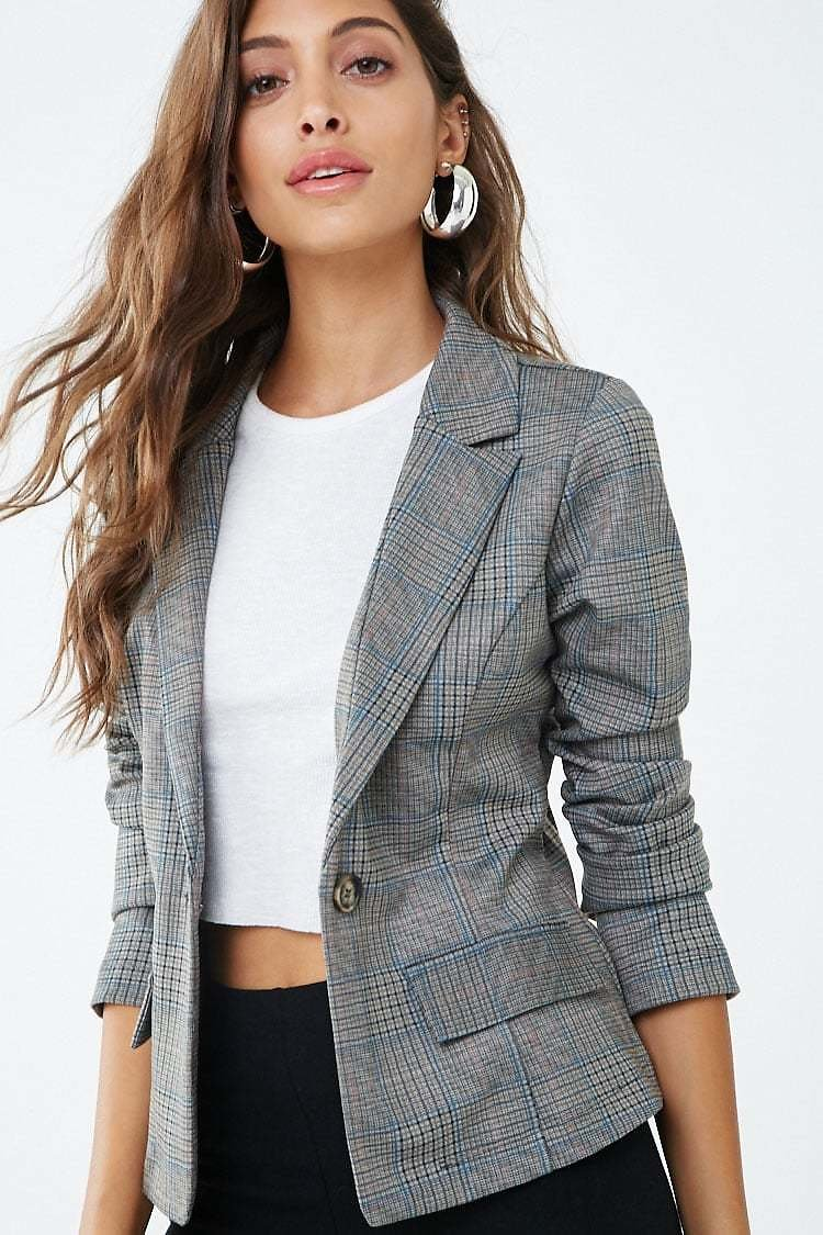 Glen Plaid Seamed Blazer