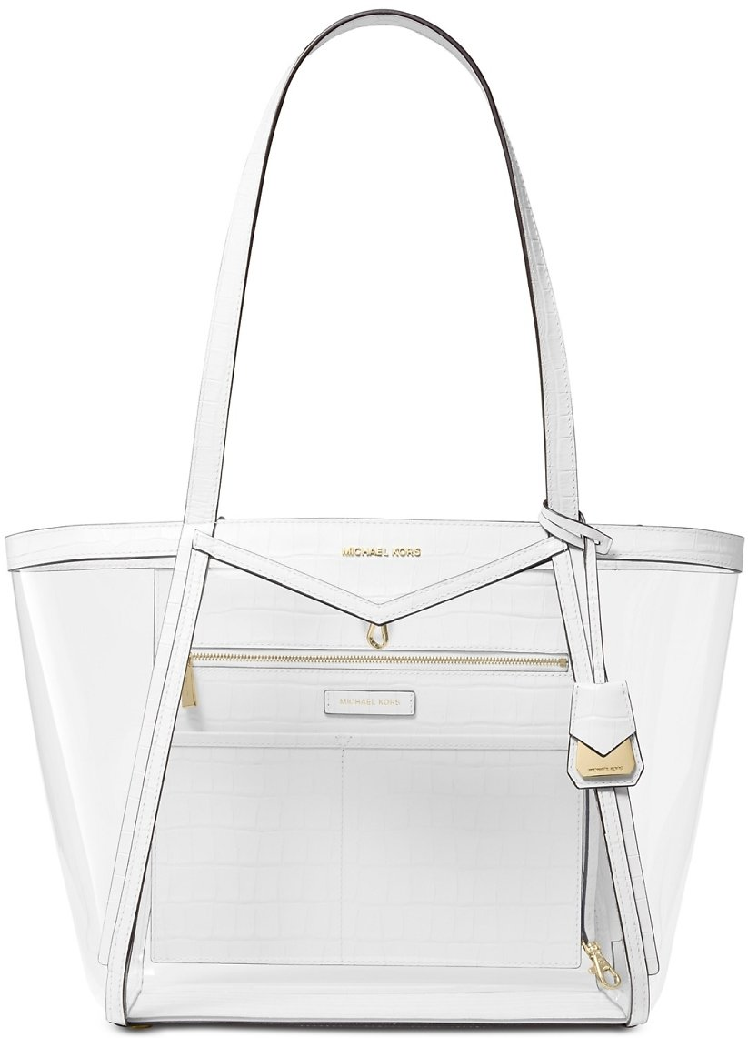 Michael Kors Whitney Clear Inset Tote - Optic White