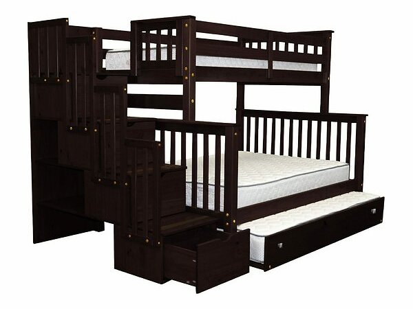 Tena Twin Over Full Stairway Bunk Bed with Trundle
