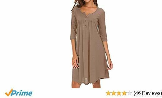AMCLOS Womens V Neck Flowy Dress Casual Swing Simple Ruffle Button Up Loose Dresses 3/4 Sleeve Long Sleeve