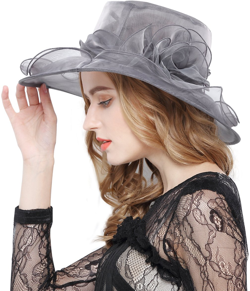 Womens Kentucky Sun Hat Flower Fascinator Wide Brim Tea Party Wedding Gauze Hat