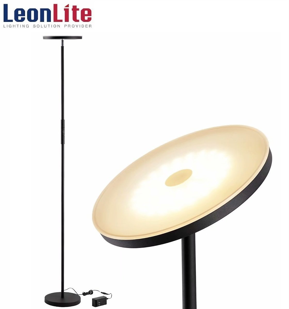 LEONLITE LED Floor Lamp, Dimmable LED Torchiere Lamp, 69-Inch Standing Lamp for Living Room, Dorm, Bedroom and Office