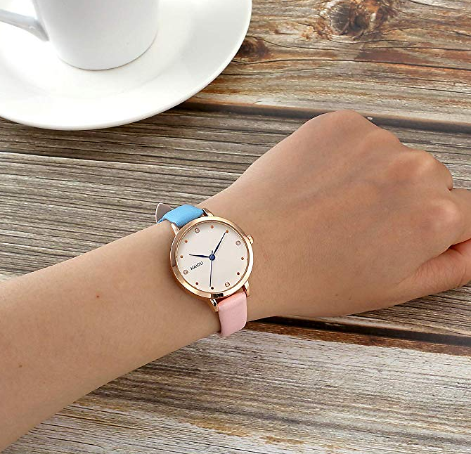 Colorful Pink and Blue Leather Analog Quartz Wrist Watch Fashion Rose Gold Case No Numerals Casual Watches