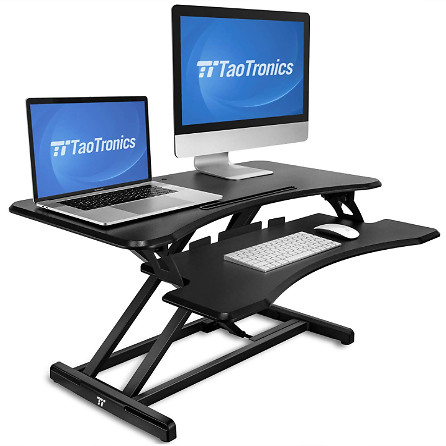 Standing Desk Converter, TaoTronics 36 inch Stand Up Desk Sit to Stand Desk Adjustable Riser, Fit Dual Monitors with Removable
