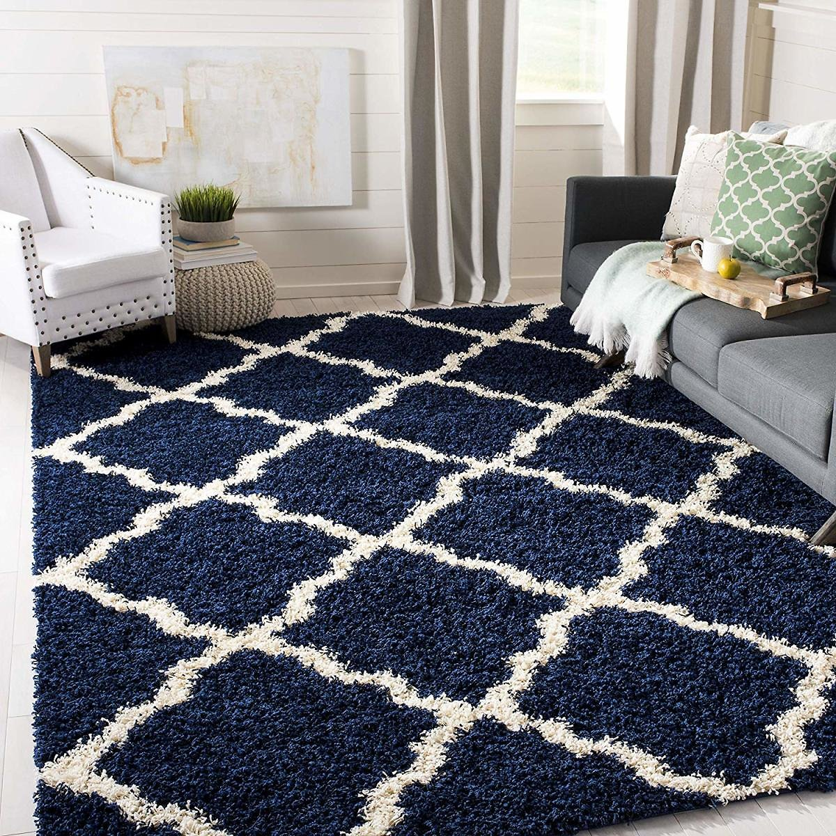 Safavieh Dallas Shag Collection SGD257N Navy and Ivory Area Rug (8' X 10')