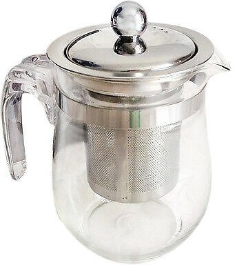 350mL Heat-resistant Clear Glass Teapot Stainless Steel Infuser Flower Pot
