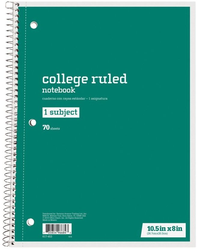 Just Basics Spiral Notebook 7 12 X 10 12 College Ruled 140 Pages 70 Sheets Green - Office Depot