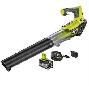 RYOBI ONE+ 100 MPH 280 CFM Variable-Speed 18-Volt Lithium-Ion Cordless Jet Fan Leaf Blower 4Ah Battery and Charger Included-P2180