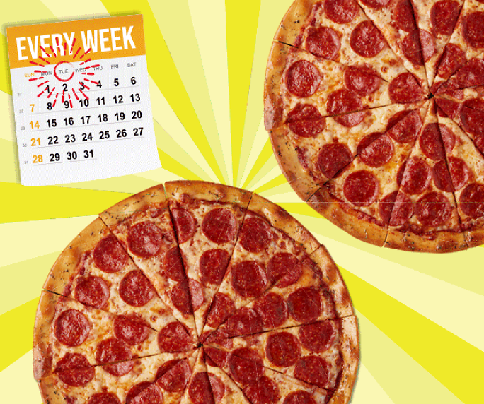 Two Large 1-Topping Pizzas for Only $22 Every Tuesday!