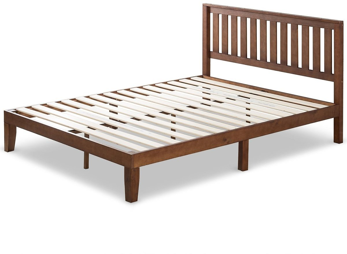 Zinus 12 Inch Solid Wood Platform Bed with Headboard/No Box Spring Needed/Wood Slat Support/Antique Espresso Finish, Queen