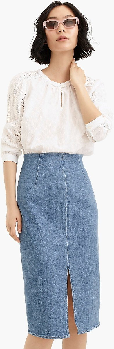 Sale 43% Off + Extra 60% Off Denim Pencil Skirt in Frosty Sky Wash