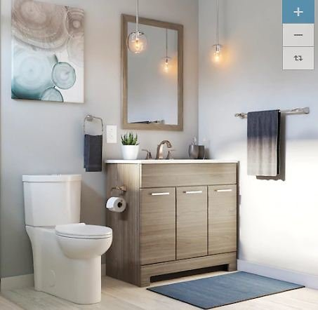 Style Selections 36.5-in Taupe Single Sink Bathroom Vanity with White Cultured Marble Top and Mirror At Lowes.com