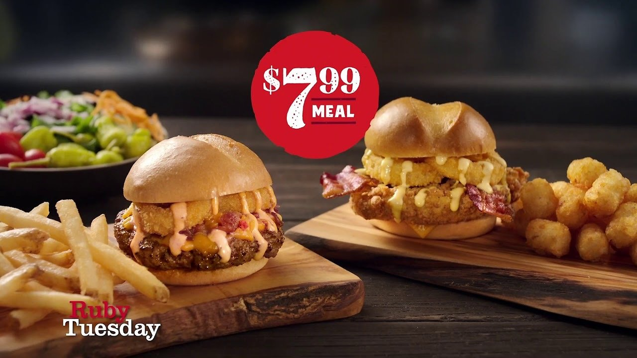 Ruby Tuesday - Honey Crunch Chicken, Fries or Tots or Cheesy Crunch Burger.