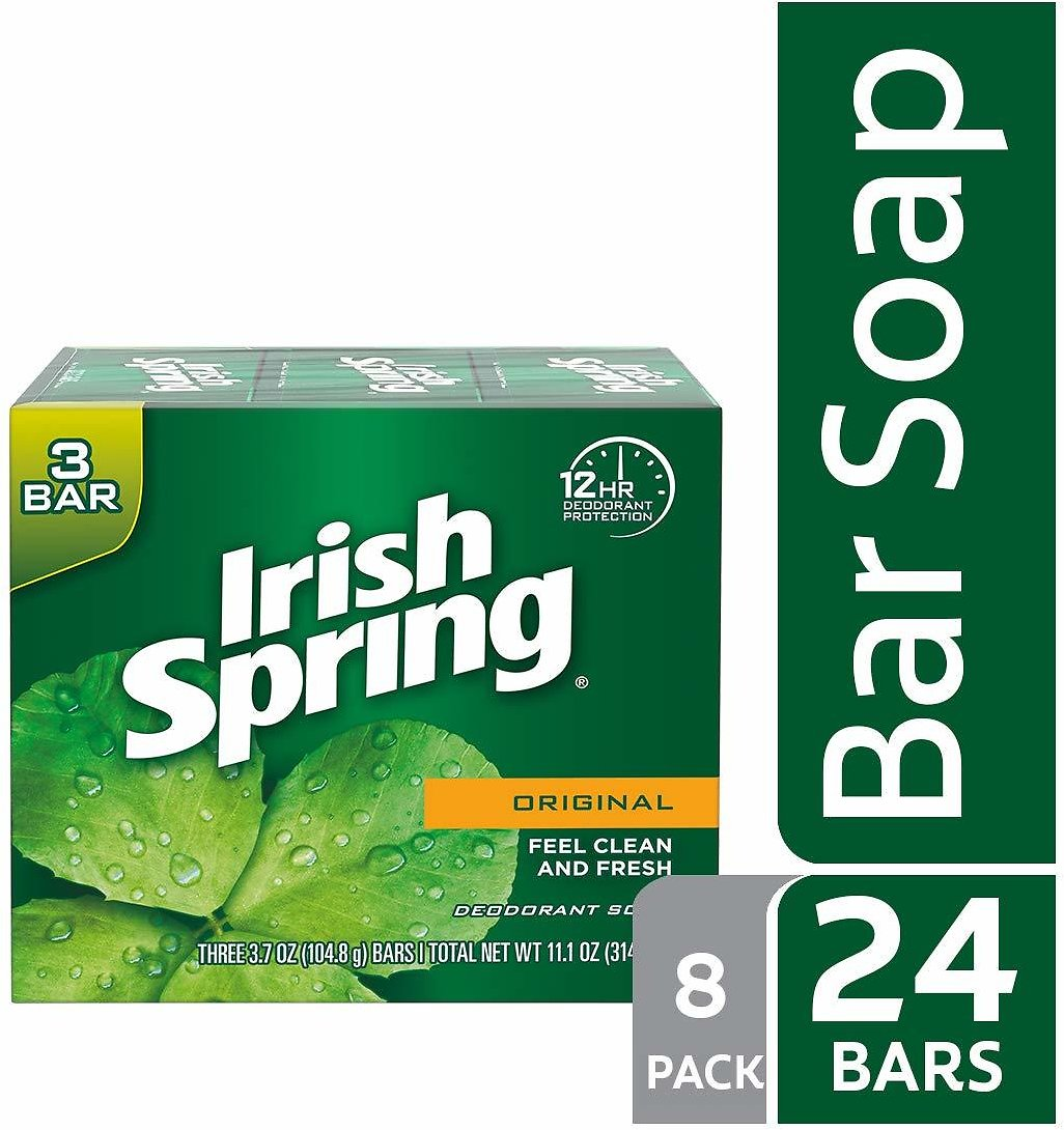 Irish Spring Original Deodorant Bar Soap, 3.7 Ounce, 3 Count (8 Pack)
