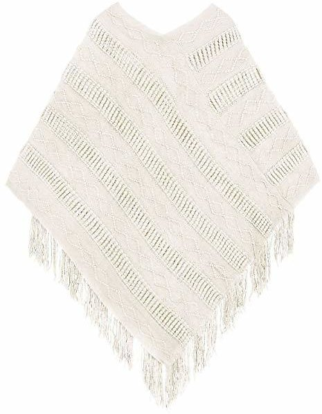 Livingston Ponchos Women Shawls Knit Pullover Sweater Poncho Tassels, Beige At Amazon Women's Clothing Store