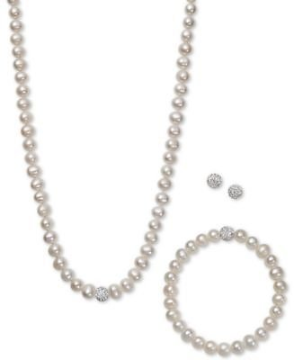Macy's White, Gray or Pink Cultured Freshwater Pearl (7mm) & Crystal Collar Jewelry Set + F/S