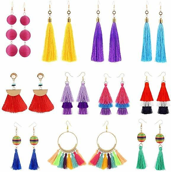 11 Pairs Colorful Long Layered Thread Ball Dangle Earrings Yellow Red Turquoise Tassel Hoop Fringe Bohemian Tiered Tassel Drop Earrings Soriee Stud Earrings Gift Set for Girls Women: Jewelry