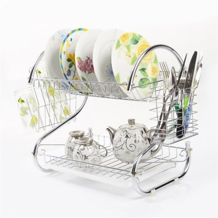 Kitchen Stainless Steel Dish Cup Drying Rack Holder 2-Tier
