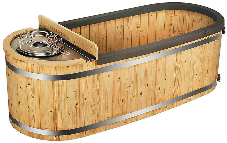 ALEKO 2-Person Pine Hot Tub with Charcoal Stove Boiler-HT2PIN-HD