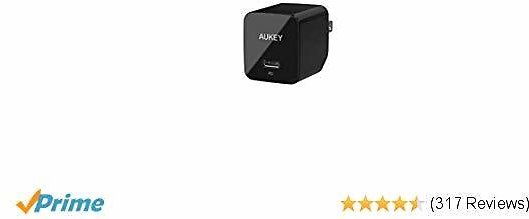 AUKEY USB C Charger with 18W Power Delivery 3.0, with MFI Certified USB C to Lightning Cable