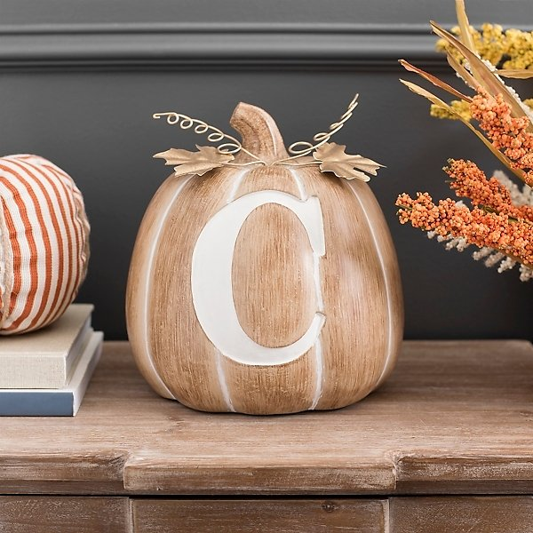 Neutral and White Monogram C Pumpkin with Leaves