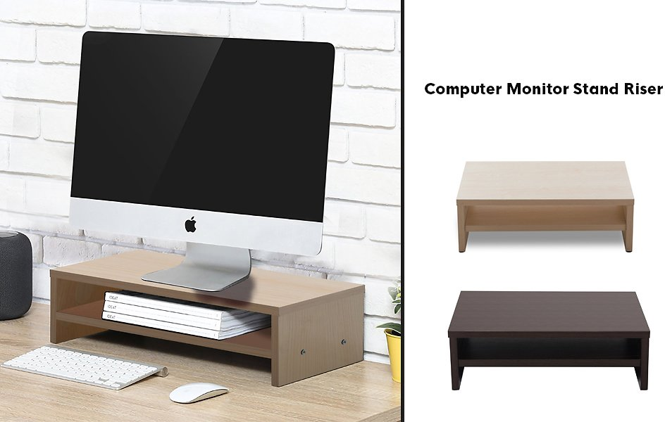 Save 50% Off Bestier Computer Monitor Stand Riser with 2-Tier Storage Organizer for Computer, Laptop, Projector, Printer
