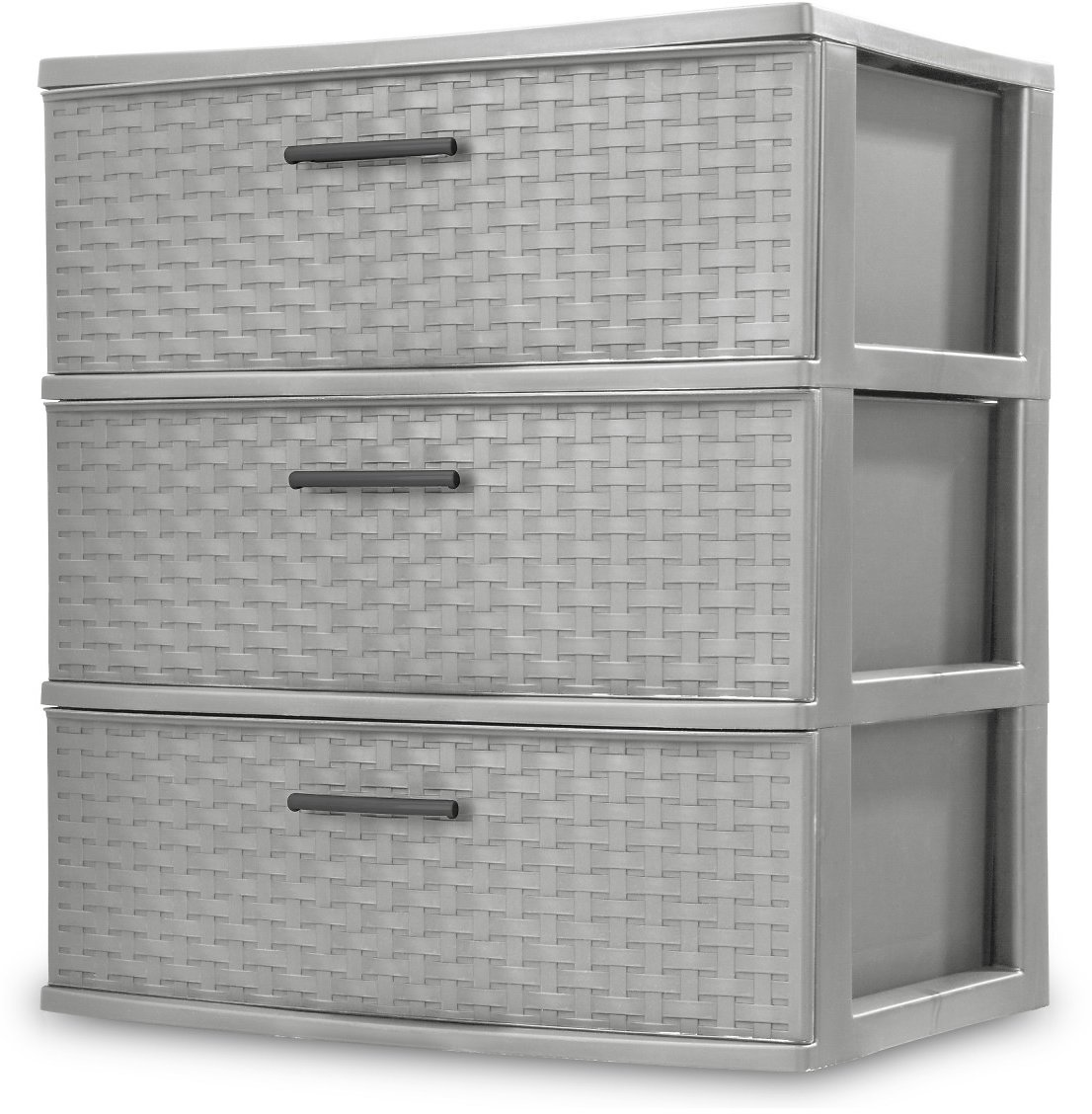 Sterilite, 3 Drawer Wide Weave Tower, Cement