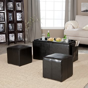 Linon Double Storage Ottoman with Side Pocket