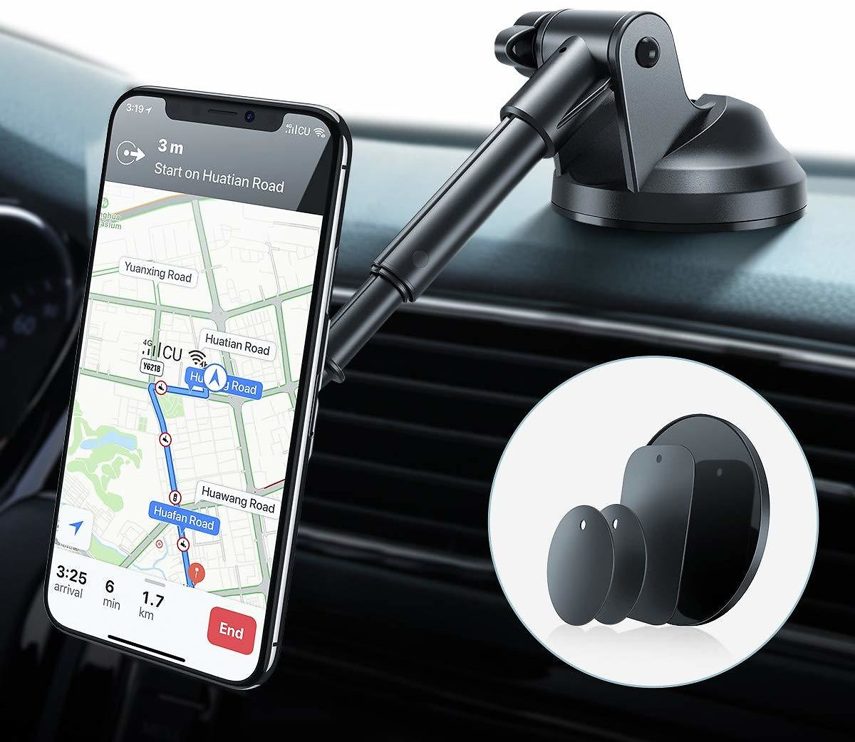 AINOPE Magnetic Phone Car Mount, 6 Strong Magnets Phone Holder for Car Dashboard and Windshield, 360° Rotation & Metal Telescopic Arm, Hands-Free Car Phone Holder for with 3''-7'' Phone