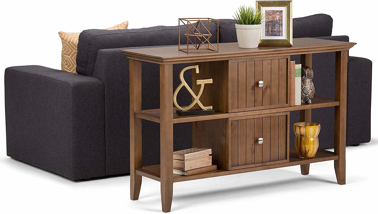 Simpli Home Acadian Solid Wood 48 In. Wide Rustic Console Sofa Table in Medium Saddle Brown