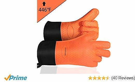 Homemaxs BBQ Gloves, Heat Resistant Grilling Gloves Silicone Oven Mitts with Extra Long Sleeve, Non-Slip Waterproof Cooking Gloves for Barbecue, Cooking, Baking (1 Pair)