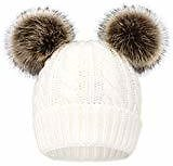 Arctic Paw Women Wiinter Knit Beanie Cable Knit Faux Fur Pompom Ears Burgundy At Amazon Women's Clothing Store