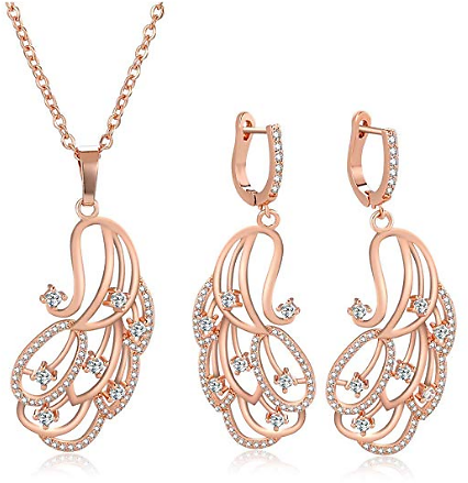 Rose Gold Plated Cubic Zirconia Jewelry Set Elegant Rhinestone Peacock Statement Necklace Earrings Set for Weddings, Brides