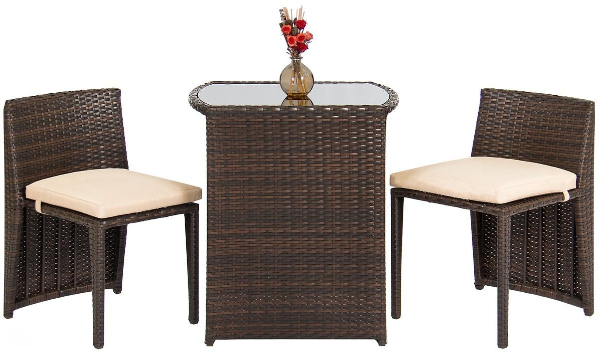 3-Piece Wicker Bistro Outdoor Furniture Set w/ Glass Top Table